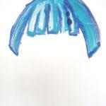 Klodin Erb, blue monk, 2019, Monotypie, Öl auf Papier, 100 x 70 cm, Courtesy die Künstlerin und Lullin + Ferrari, Zürich