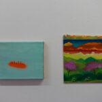 Marc Elsener links: Mindbender, 2011, Öl, Lackspray auf Leinwand, 18 x 24 cm rechts: Arrive without Travelling, 2017, Öl auf Holz, 24 x 21 cm