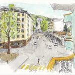 """13. April 2020: """"Corona-Ostermontag, Bundesstrasse, Luzern"""", von Heidi Zurbuchen"""