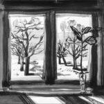 23. Mai 2020; Paul Bürki: Stay at home, home painting 1 // Blick aus der Quarantäne, da draussen im aufblühenden Frühling lauert Corona. // Sinnfragen überschatten Freude und Leichtigkeit. // Das Wesentliche vom Unwesentlichen befreien, für uns, mit uns, uns alle.