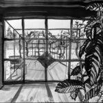 23. Mai 2020; Paul Bürki: Stay at home, home painting 3 // Eine neue Solidarität mit meinen Pflanzen im Wintergarten erwacht. // Ich beschütze sie in der temperierten Quarantäne gegen den Kältetod. // Nun sitze ich neben der Mispel, den Chilis, Kakteen und Co. als Neuling. // Überleben zum leben.  // Die Angst sagt, ich werde mich wieder in Freude verwandeln.