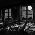 23. Mai 2020; Paul Bürki: Stay at home, home painting 5 // Du nächtlicher Sonnenspiegel leuchtest aus dem dunklen All zu uns. Schwarze Schlagschatten mit Konturen wie Scherenschnitte. Du warmes gedämpftes Licht, gerne wandern meine Augen an deinen Grenzen und suchen darin den Mann, die magische Luna, den Honig, die Stille der Nacht... // Du gleitest im sanften Bogen durch meine Schlafzimmerfenster, deine Zeit scheint zeitlos.