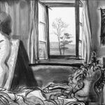 """23. Mai 2020; Paul Bürki: Stay at home, home painting 6 // Im Schutz der Quarantäne sinieren // Ich warte und hoffe dass es mich nicht erwischt. // Mein einzig überlebender Gipsdoppelgänger lehnt hinter der Bettdecke an der Wand, er denkt dasselbe. // Im Verband mit Gleichgesinnten legten wir uns zu einem dichten Menschenteppich vor den Eingang der Internationalen Kriegsmaterialausstellung W81 in Winterthur.  Solidarischer, passiver Widerstand. // """"Ich zwinge mich, mein Körper ist angespannt, mein Blick richte ich misstrauisch auf Besucher, die es wagen auf Menschen zu treten. // ich warte und hoffe dass es mich nicht erwischt."""" // In der Leere werden aus Gedanken und Empfindungen Pinselstriche."""